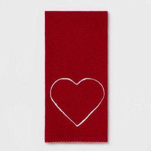 Heart Flat Weave Kitchen Towel Red 18x28
